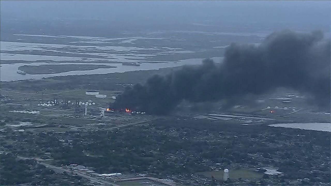 Download RAW VIDEO: Aerial video shows TPC Group plant in Port Neches burning hours after explosion