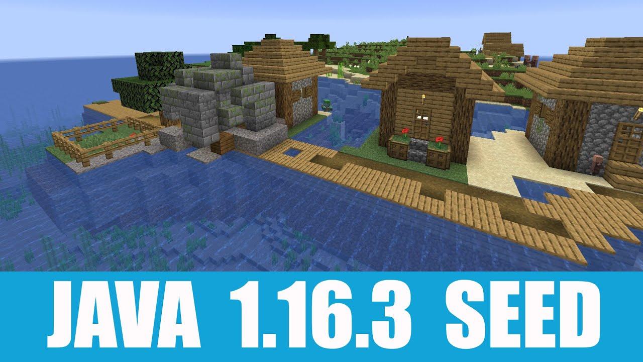 Minecraft Java 9.96.9 Seed: Island village near spawn merged with surface  ocean ruins