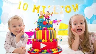 10 Million Subscribers! Party and Surprise Toys for Gaby and Alex YouTube Videos