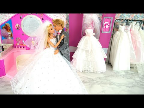 Barbie Rapunzel Dolls Wedding Dress Shop Shopping Gaun pengantin boneka Barbie Vestido de noiva thumbnail
