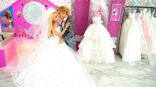 Barbie Rapunzel Dolls Wedding Dress Shop Shopping Gaun pengantin boneka Barbie Vestido de noiva