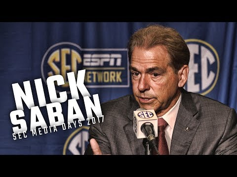 Alabama head coach Nick Saban speaks at SEC Media Days 2017