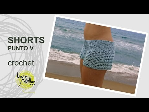 e650812c4e5b Tutorial Shorts Crochet o Ganchillo en Punto V (Uve)
