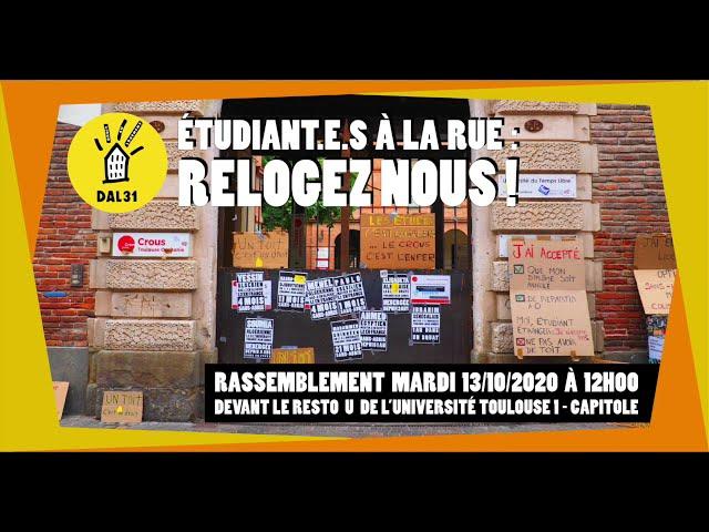 Toulouse - Etudiant-e-s sans abris, mardi 13 octobre 12h devant le resto universitaire de Toulouse 1