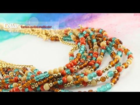 8cf9724f5745 Cómo hacer un Collar varias vueltas multicolor (English CC) - YouTube