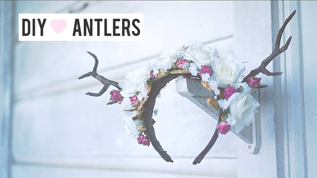 Deer Antler DIY Halloween Headpiece Costume (Floral Fawn) - YouTube 09cff84c40e
