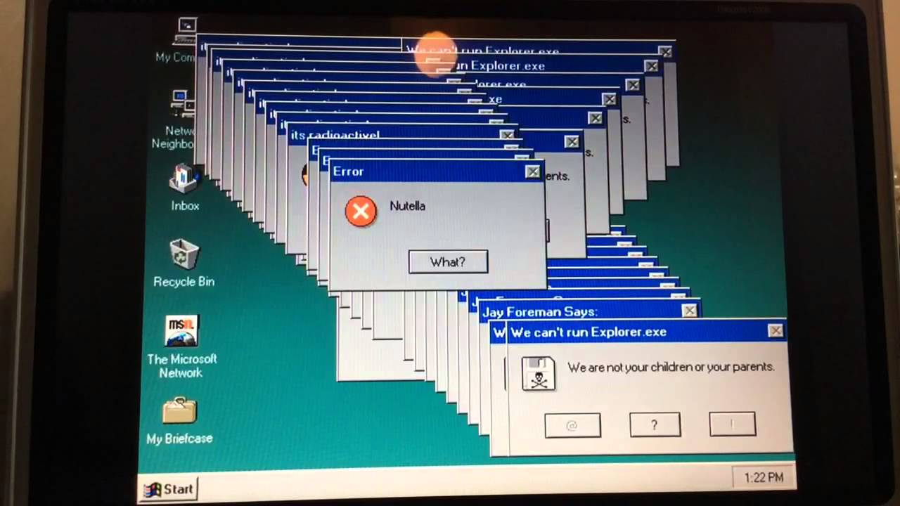 Windows 95 Crazy Error Loco Marisa Tanked Windows 95 With An