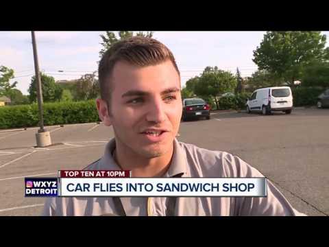 Car flies into Farmington Hills sub shop
