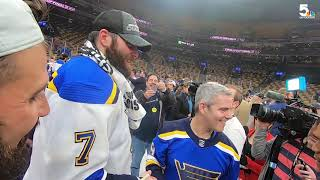 On the ice after the Blues won the 2019 Stanley Cup