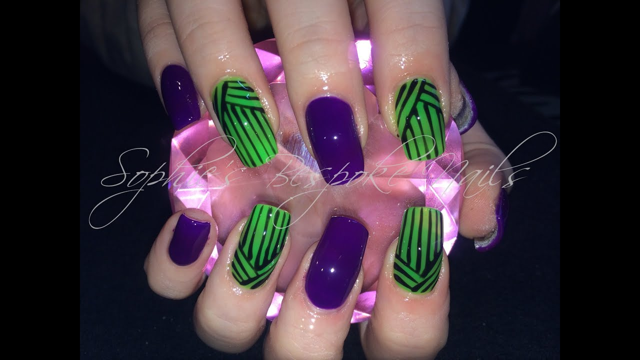 Acrylic Nails l Neon Purple & Green l Nail Design - YouTube
