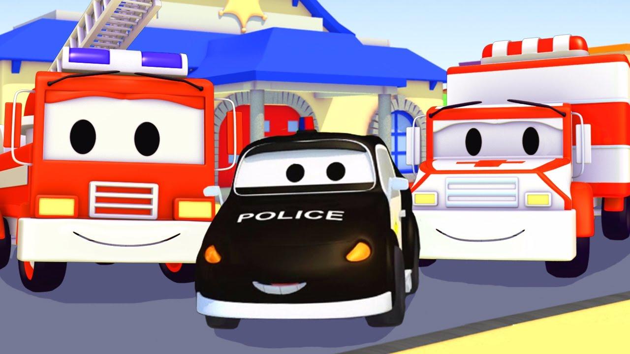 Đội Xe Tuần Tra : Xe Cứu Hỏa Cùng Với Xe Cảnh Sát và e cứu thương ở thành phố xe | Phim hoạt