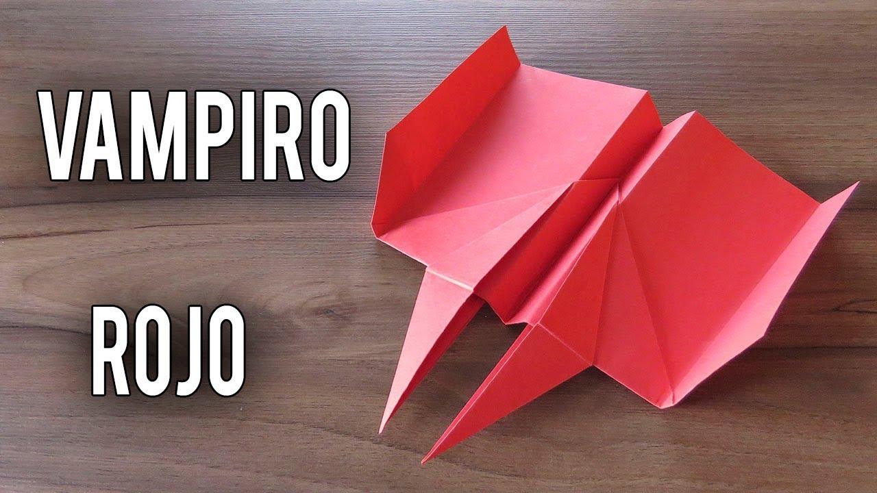 Como Hacer Un Avión De Papel Que Vuela Mucho Y Lejos Planeador Vampiro Rojo Youtube