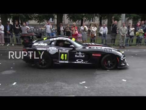 Latvia: Fast and furious in Riga as Gumball 3000 cars rev their engines