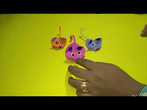 DIY-Making A Mouse With Paper|| Paper Mouse Video|| Paper Animal Origami For KIds