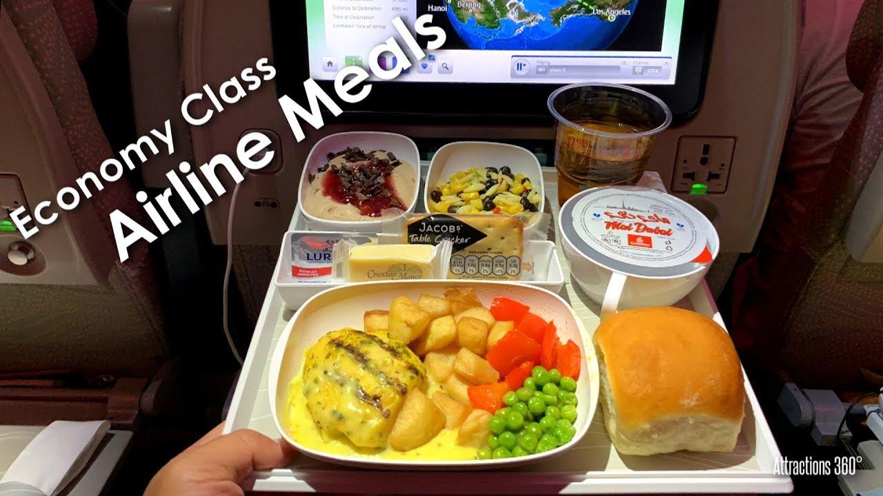 EMIRATES Airline 2016 Airbus A380 London Dubai Economy Class Menu