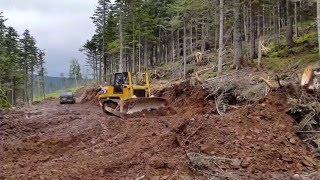 бульдозер SEM 816 в работе (дорога в лес)