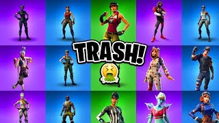 10 MOST TRASH FORTNITE SKINS EVER! (Ranking Worst Fortnite Skins)