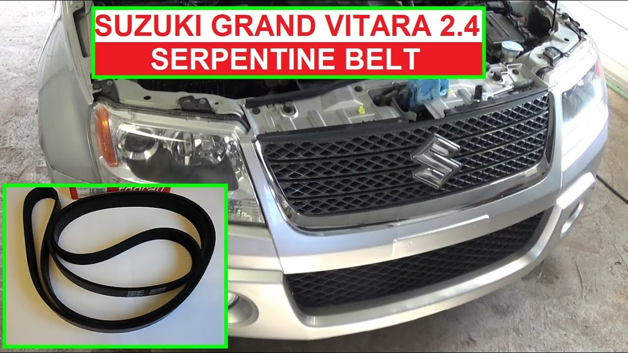 how to replace or install serpentine belt on suzuki grand vitara 2006 2014 serpentine belt diagram [ 1280 x 720 Pixel ]