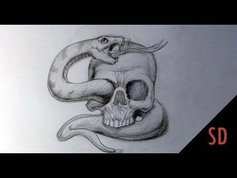 How To Draw Skull And Snake Tattoo