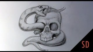 How to Draw Skull and Snake Tattoo - Skull Drawings