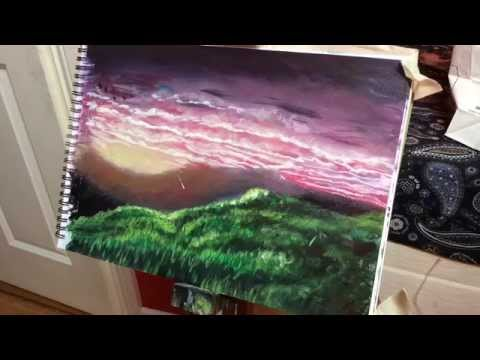 Speed Painting of Sunset Landscape in Acrylic- Painting By Josh