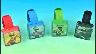 2015 DC Superheroes Digital Watches set of 4 McDonalds Happy Meal Kids Toys Video Review