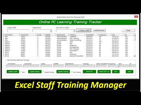 Staff Training Manager Vba Excel Database Part 1 Youtube