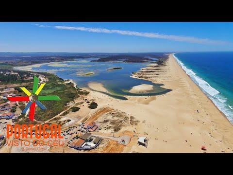 Lagoa de Santo Andr� - Santo Andre Lagoon aerial view - Santiago do Cac�m - 4K Ultra HD