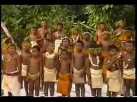 Tikopia: children singing SI national anthem