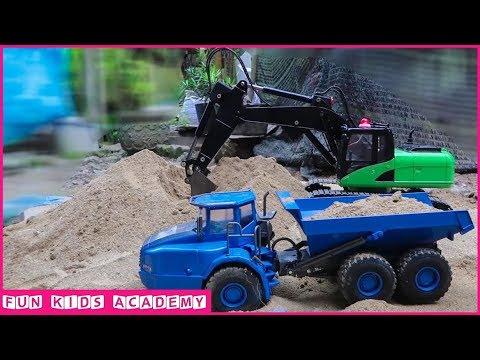 Excavator videos for children, JCB Excavator & CAT Trucks Working, Construction trucks for Children