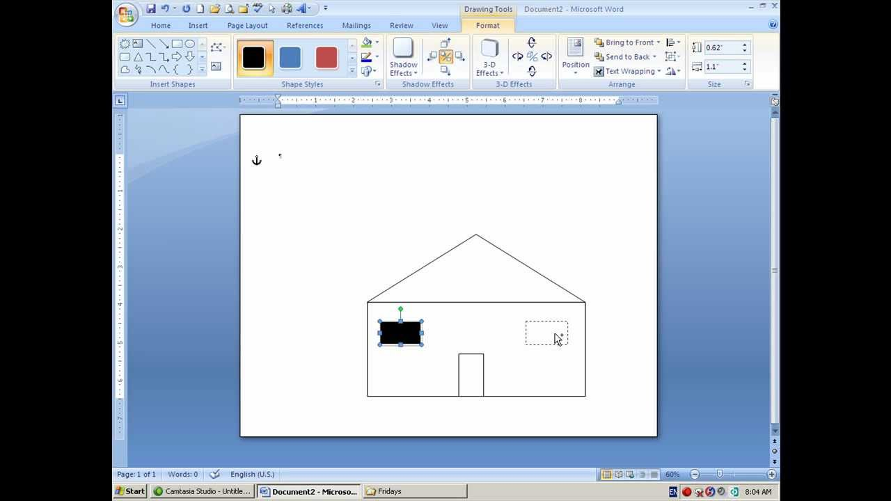 How To Draw A House In MS Word-Shapes And Layers