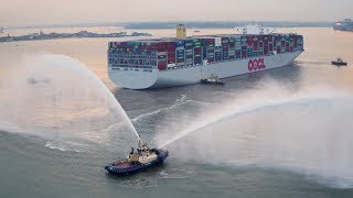 World's largest container ship OOCL Hong Kong's maiden call at Port of Felixstowe