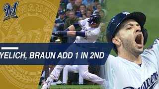 Christian Yelich and Ryan Braun add to the Brewers' early lead with...