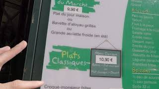 A French restaurant menu- french culture