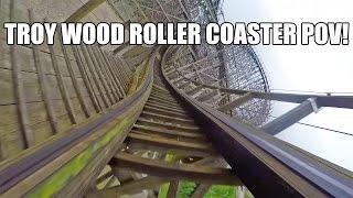 Troy Wooden Roller Coaster POV 60FPS Toverland Netherlands