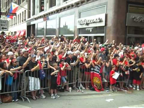 Chicago Blackhawks Victory Parade 2010 - View From The Bus