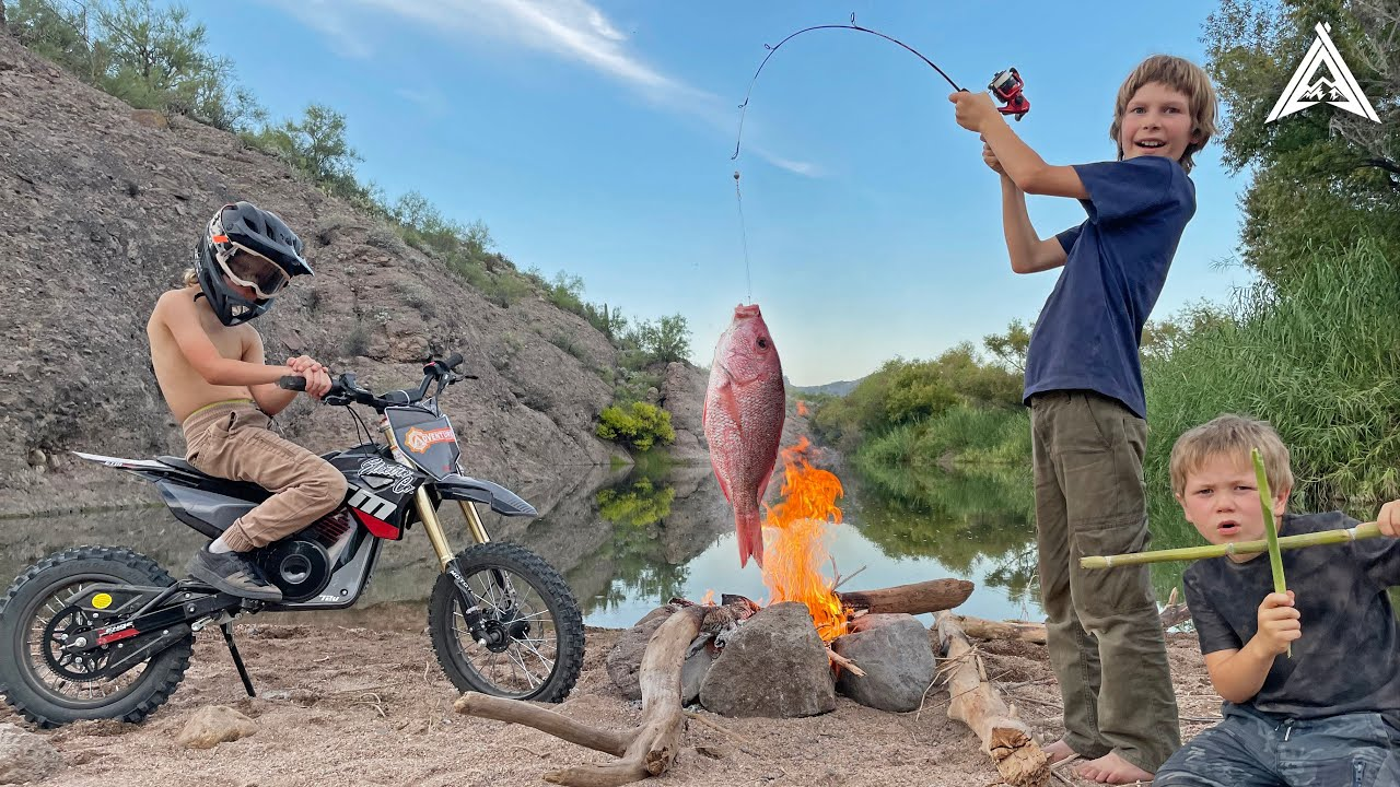 """Riding Dirt Bikes to Secret Desert Fishing Hole + """"Catch and Cook"""" Fish Fry Prank"""