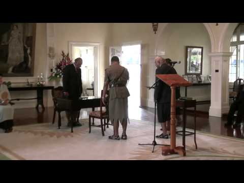 His Excellency the Fijian President Ratu Epeli Nailatikau swears-in the Prime Minister elect