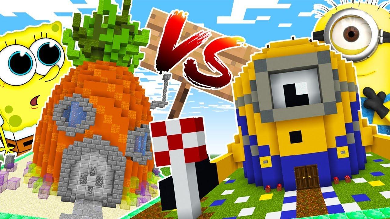 Casa dei minions vs casa di spongebob! cartoni animati!! costruzioni
