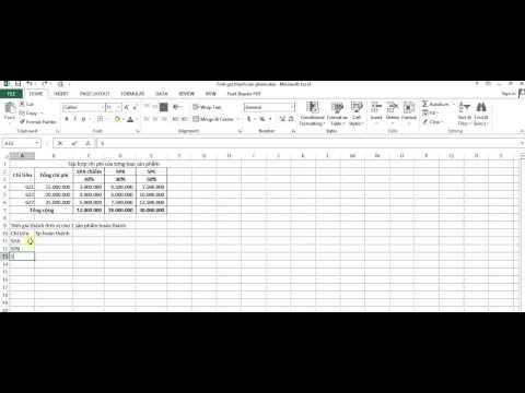 Tính Giá Thành Giản đơn Trên Excel