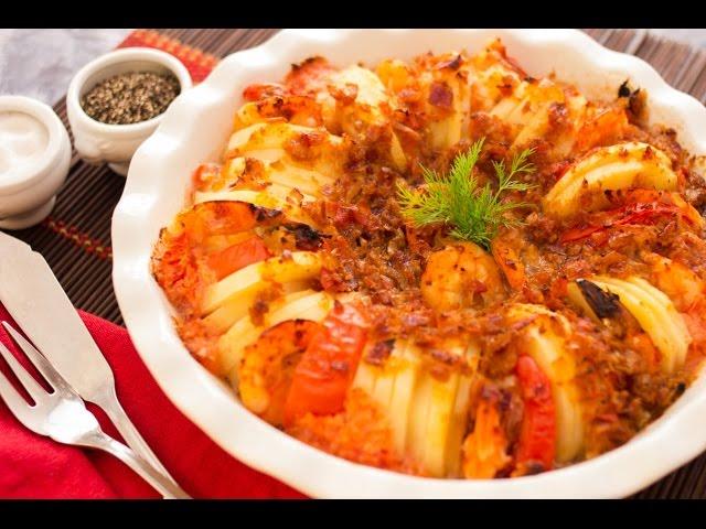 خمس مقادير وبس - صينية جمبري بالبطاطس + أرز برياني جمبري - الجزء الأول
