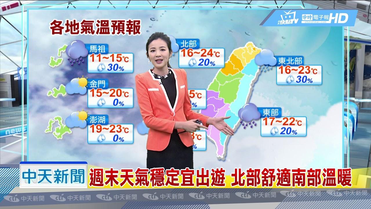 20190317中天新聞 【氣象】週末天氣穩定宜出遊 北部舒適南部溫暖 - YouTube