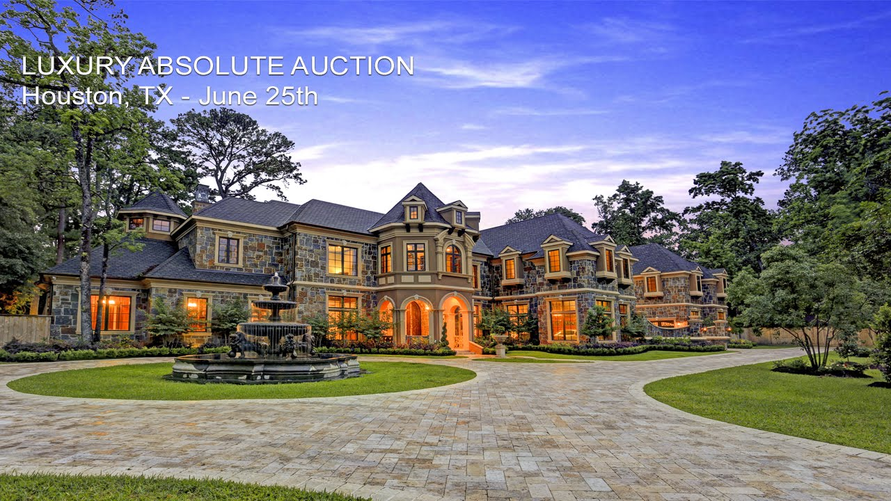 Luxury houston texas mansion for sale by absolute auction for Mega homes for sale