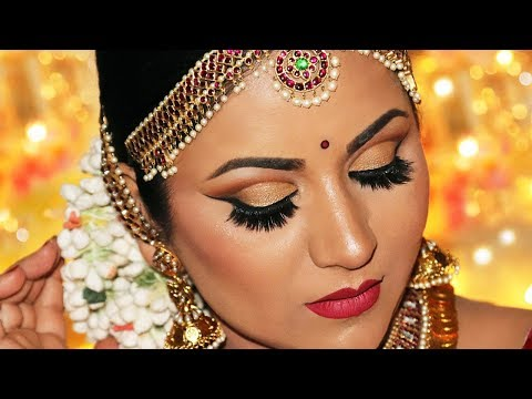 Step-by-Step South Indian Bridal Makeup | Antique Gold Cut Crease