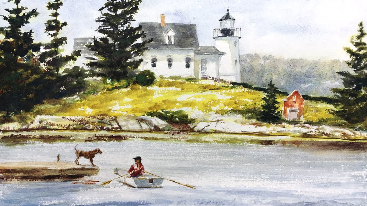 Watercolor painting tutorial maine lighthouse 4k youtube for What time is it in maine right now