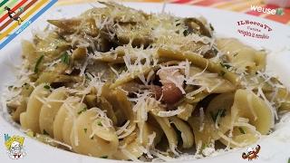 373 - Fusilli carciofi e guanciale...fatti in modo artigianale!! (pasta facile con carne e verdure)