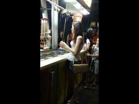 Turkish ice cream cute girl Clark Quay Singapore