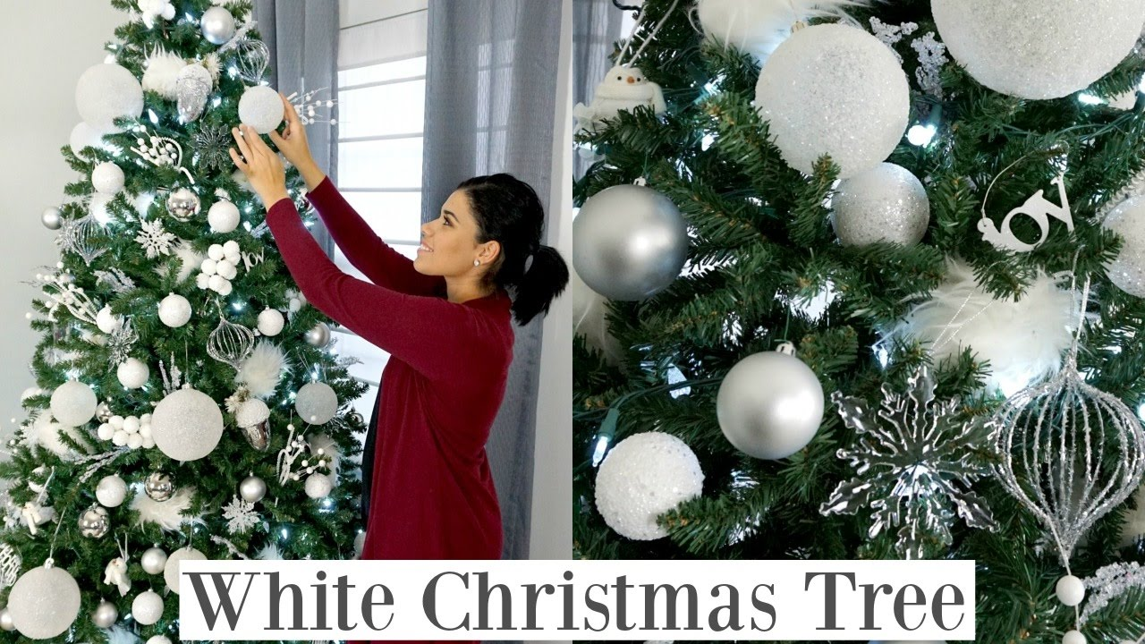 christmas tree decorating how to white christmas tree youtube - White Christmas Tree Ornaments