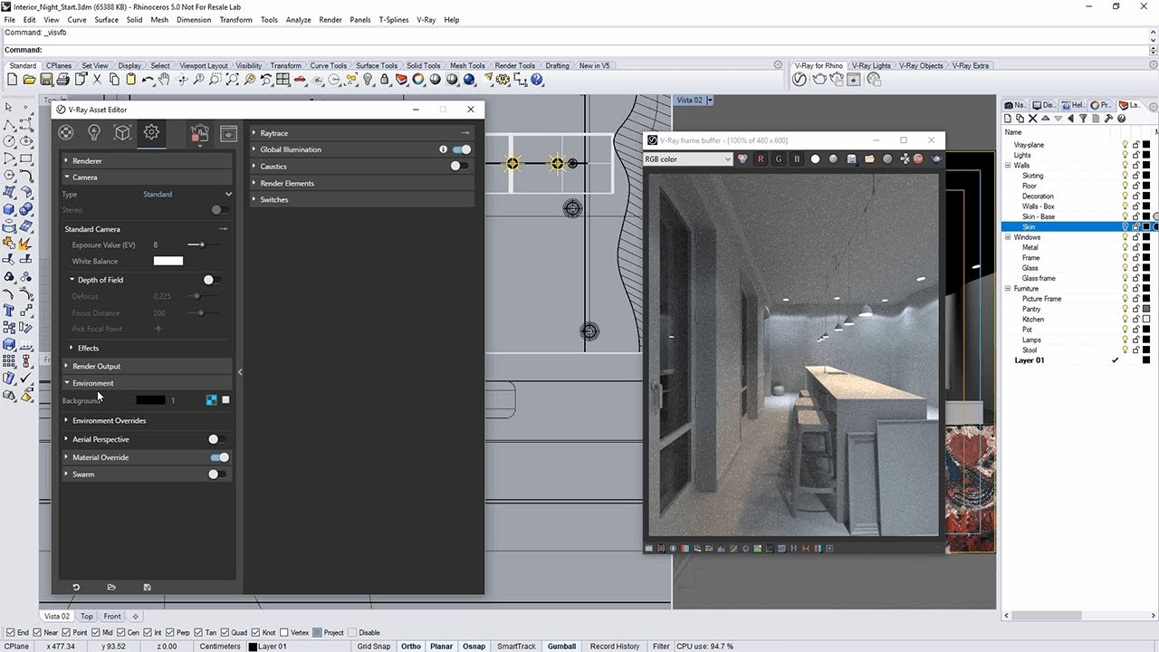 Interiørtips Entre V Ray For Rhino Tutorial Interior Night Lighting