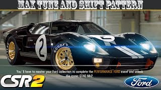 Csr 2 ford gt tune and shift pattern prestige cup info